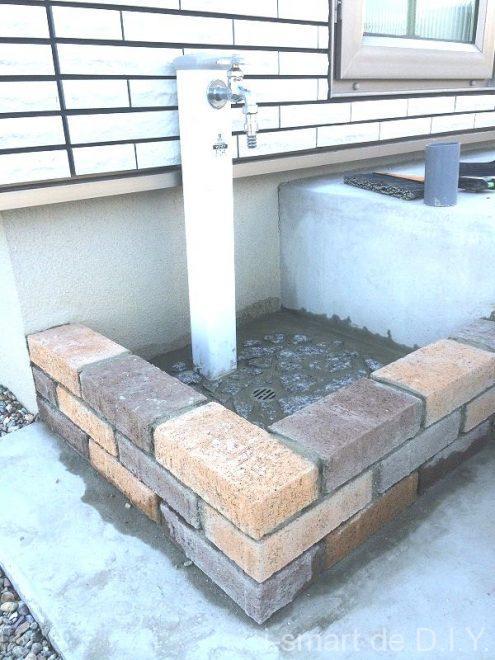 立水栓 DIY レンガ