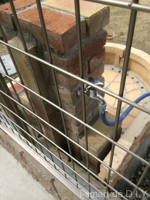立水栓DIY レンガ積み