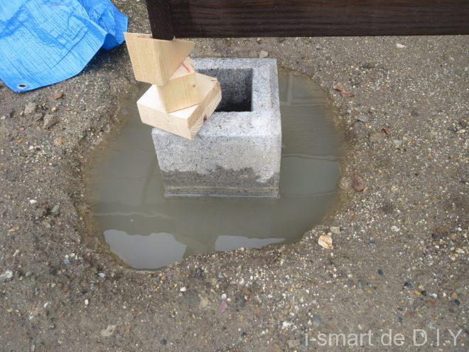 束石 4×4 固定 水没