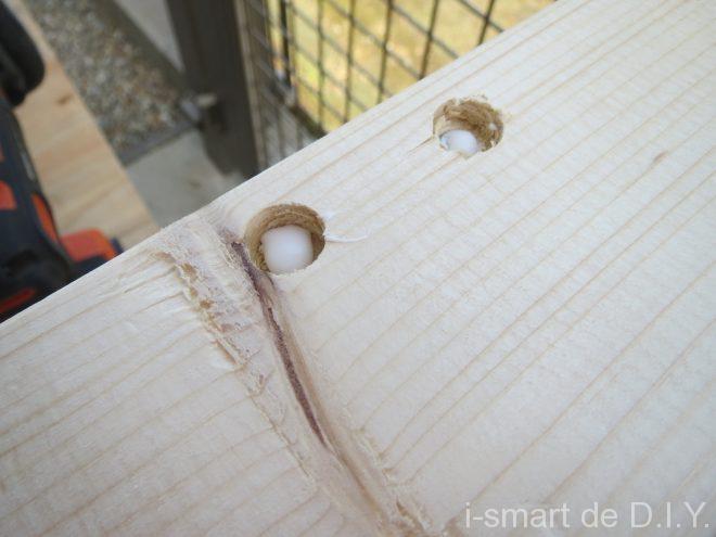木工DIY ブックシェルフ 隠し釘 ボンド